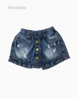Quần jeans bé gái giả váy xếp ly màu xanh nhạt (1-7 tuổi)