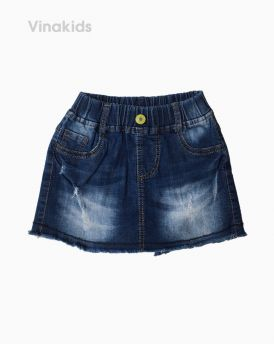 Quần jeans bé gái giả váy xước màu xanh đậm (1-7 tuổi)