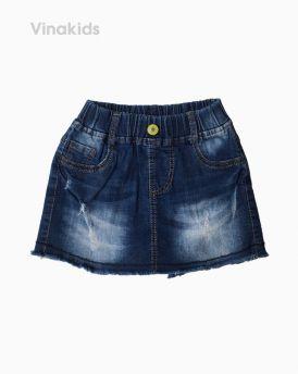 Quần jeans bé gái giả váy xước màu xanh đậm (7-10 tuổi)