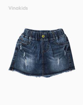 Quần jeans bé gái giả váy xước màu xanh nhạt (7-10 tuổi)