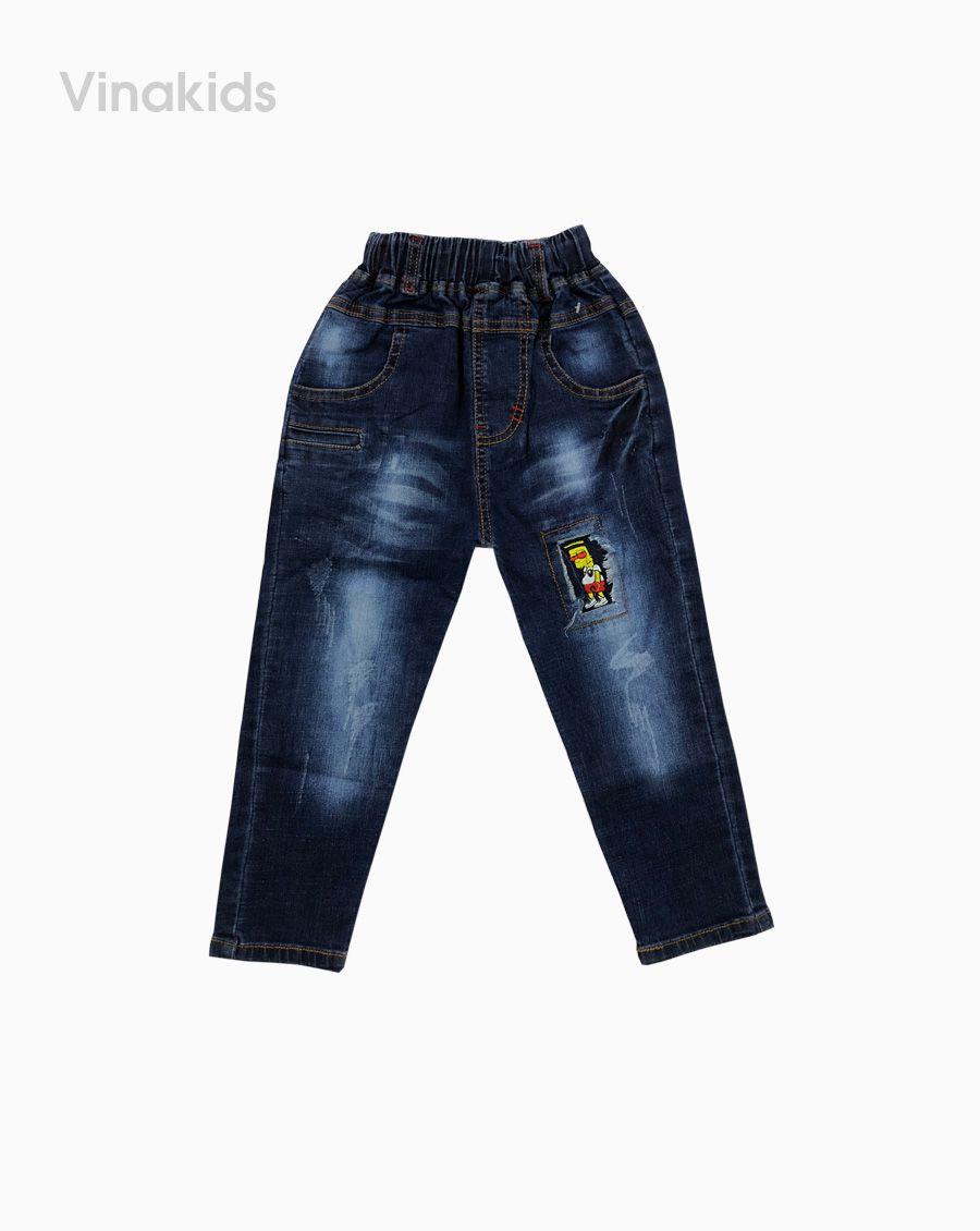 Quần jeans bé trai thêu đắp màu xanh đậm (1-7 tuổi)