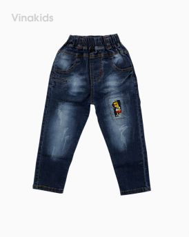 Quần jeans bé trai thêu đắp màu xanh nhạt (1-7 tuổi)