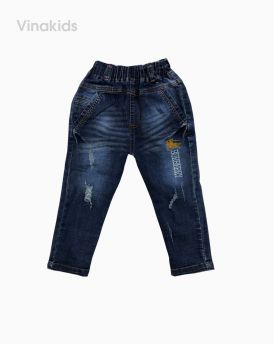 Quần jeans bé trai thêu ngựa màu xanh (1-7 tuổi)