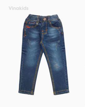 Quần jeans dài bé trai đắp rách màu đậm 22125 (7-11 Tuổi)