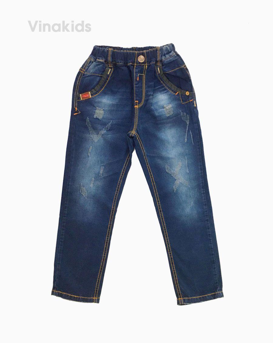 Quần jeans dài bé trai rách màu xanh 32081 (12-16 Tuổi)