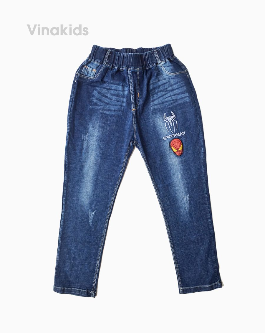 Quần jeans dài bé trai thêu người nhện ( 7-10 Tuổi)