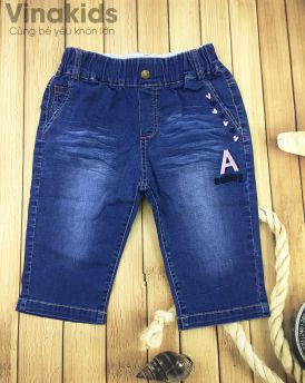 Quần jeans lửng bé gái chữ A ( 25kg-40kg)