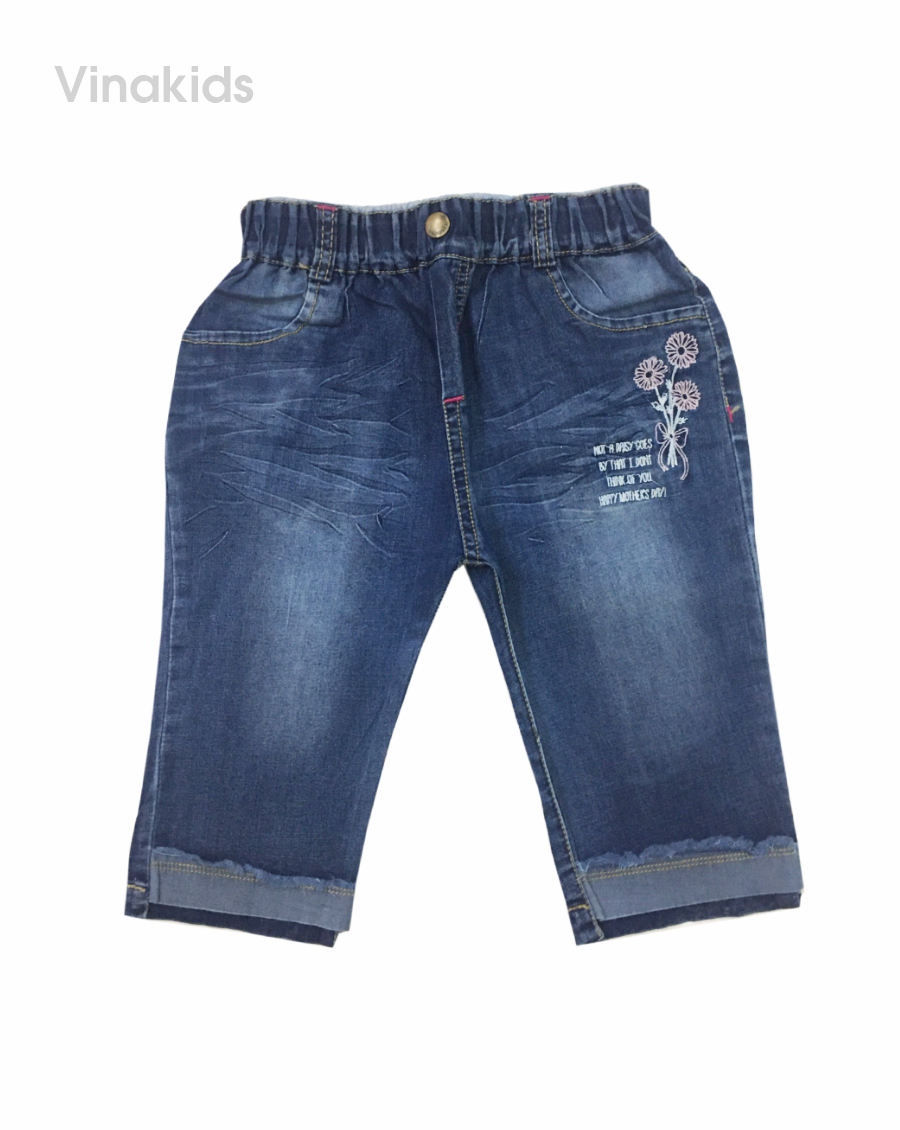 Quần jeans lửng bé gái thêu bông hoa (3-8 tuổi)