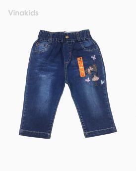 Quần jeans lửng bé gái thêu hình cô gái (3-8 tuổi)