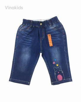 Quần jeans lửng bé gái thêu mèo trái tim (25-35kg)