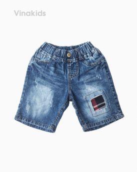 Quần jeans lửng bé trai đắp vải màu đỏ (7-10 tuổi)