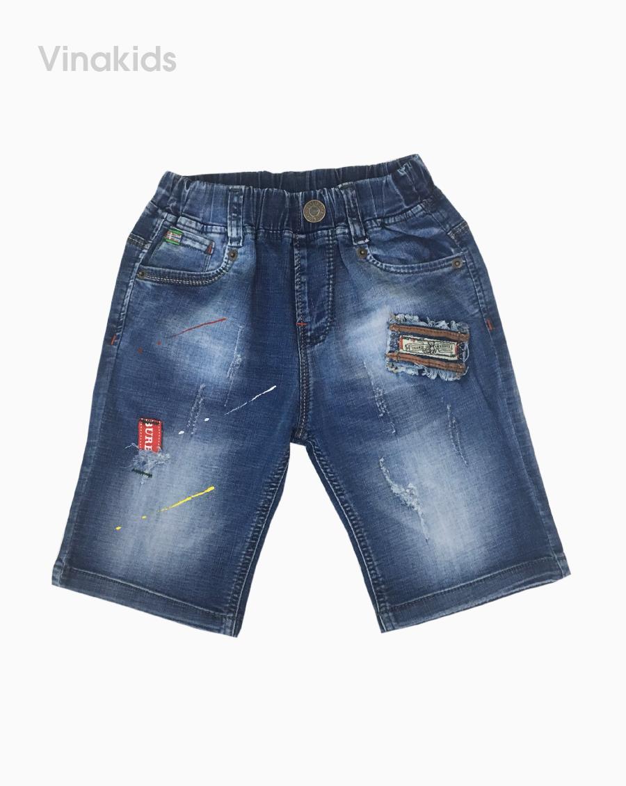 Quần jeans lửng bé trai thêu đắp màu xanh (23-35kg)