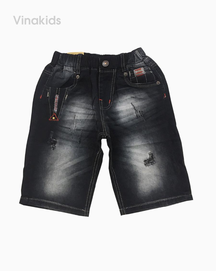 Quần jeans lửng bé trai thêu veezo màu đen (9-12 tuổi)