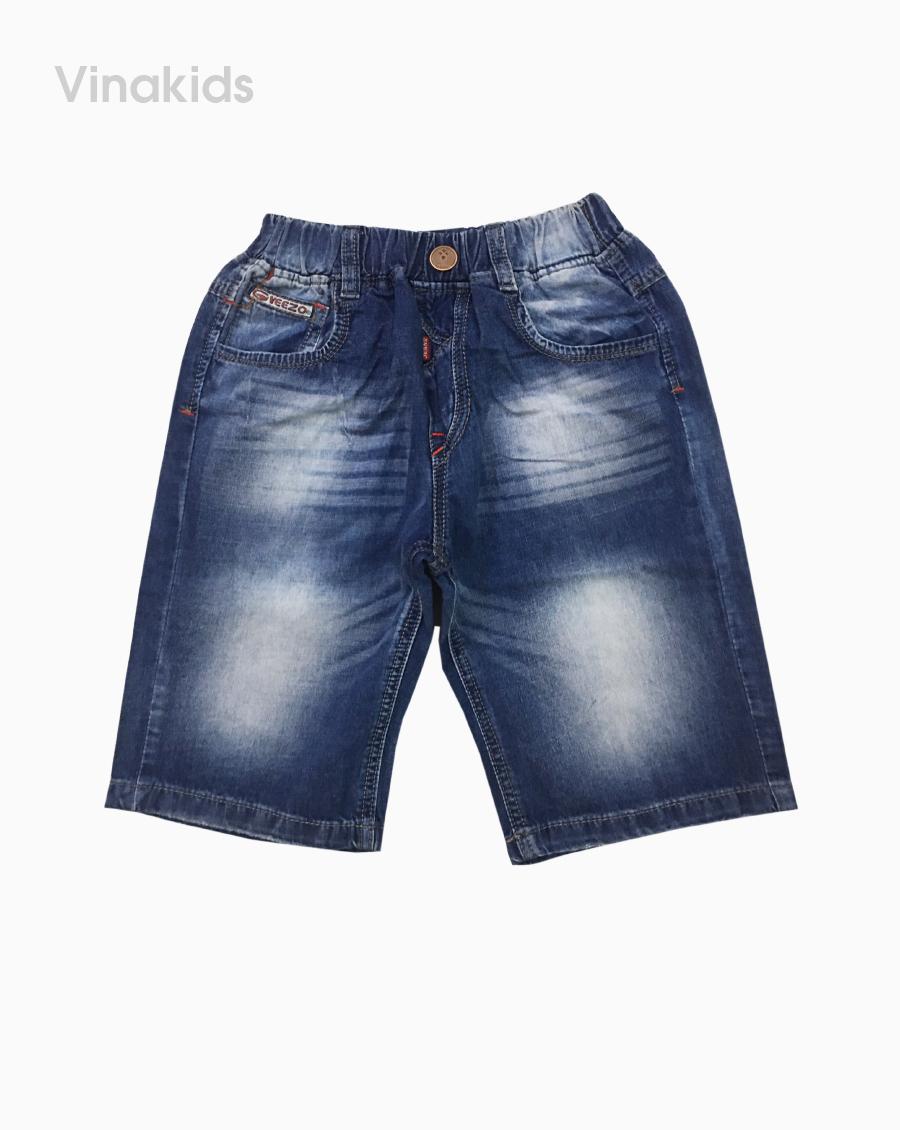 Quần jeans lửng bé trai thêu veezo màu xanh (9-12 tuổi)
