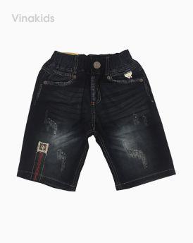 Quần jeans lửng bé trai thêu xước màu đen (25-33kg)