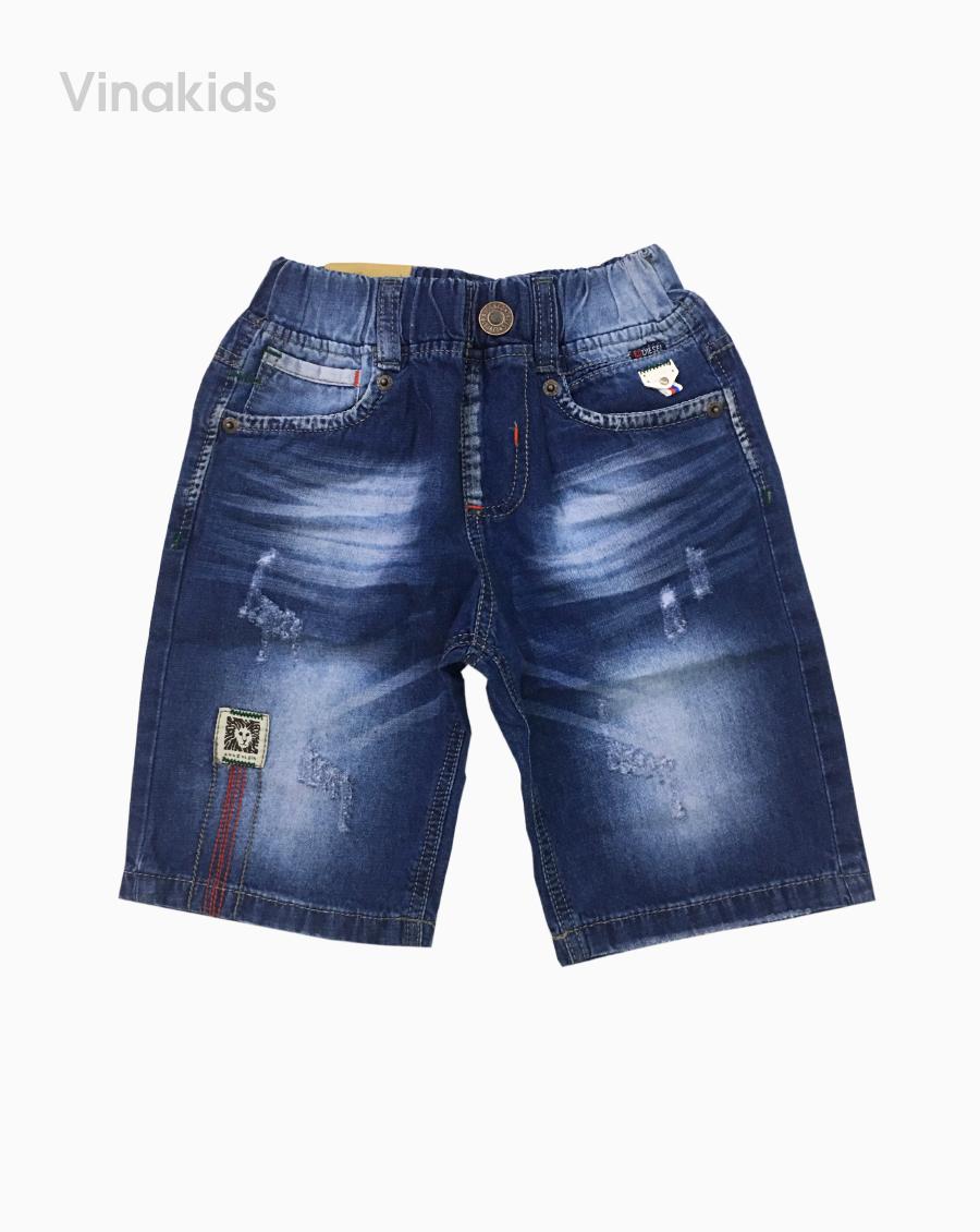 Quần jeans lửng bé trai thêu xước màu xanh (25-33kg)
