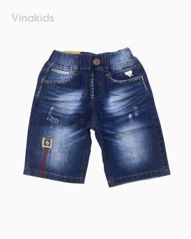 Quần jeans lửng bé trai thêu xước màu xanh (3-7 tuổi)