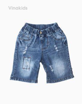 Quần jeans lửng bé trai trang trí chỉ chữ nhật màu nhạt (7-10 tuổi)