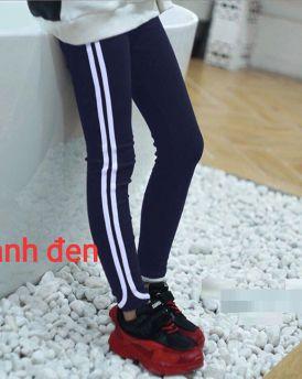 Quần legging bé gái phối sọc thể thao màu tím than (2-9)