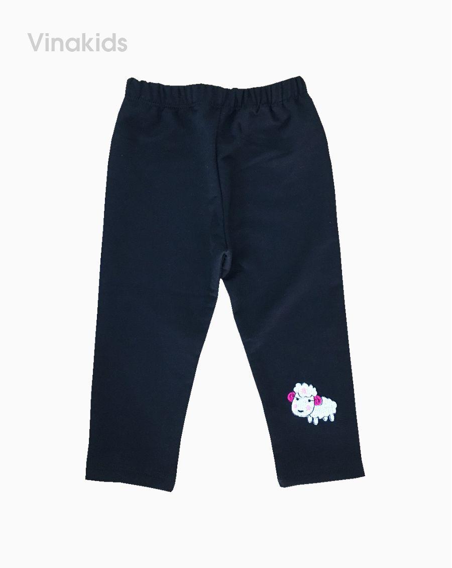 Quần legging bé gái thêu cừu màu đen (7m-4 tuổi)
