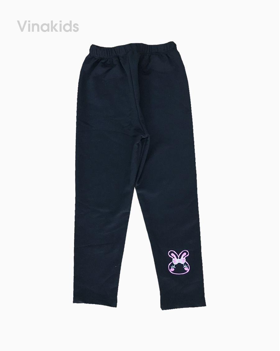 Quần legging bé gái thêu thỏ màu đen (4-7 tuổi)