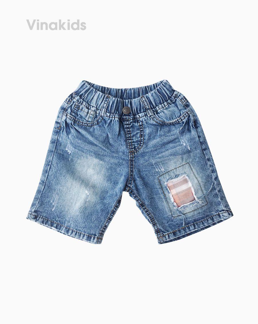 Quần lửng jeans bé trai đắp vải màu vàng (1-7 tuổi)