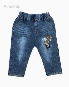 Quần jeans lửng bé gái thêu hoa (6-9 tuổi)