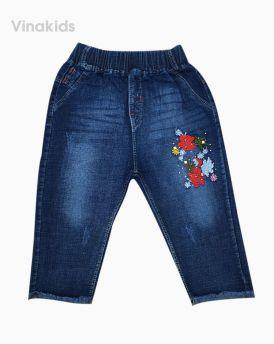 Quần jeans lửng bé gái thêu hoa hồng (6-9 tuổi)