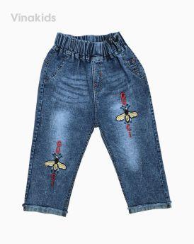 Quần jeans lửng bé gái thêu ong (4-6 tuổi)
