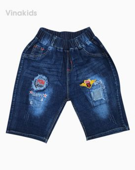 Quần jeans lửng bé trai thêu boy (3-5 tuổi)