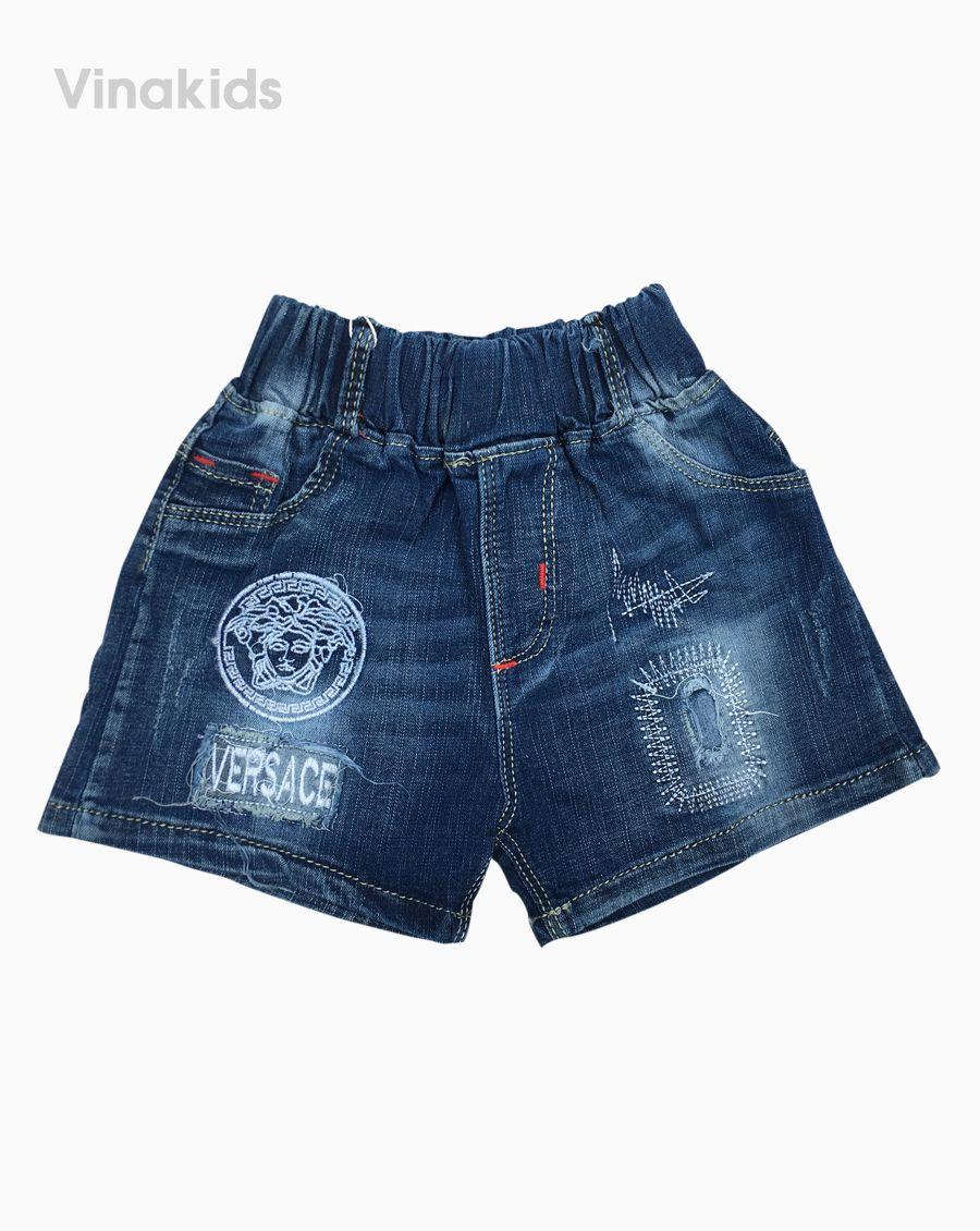 Quần sooc jeans bé trai thêu logo (2-4tuổi)
