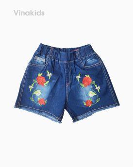 Quần sooc jeans bé gái thêu hoa hồng ( 5-9 Tuổi)