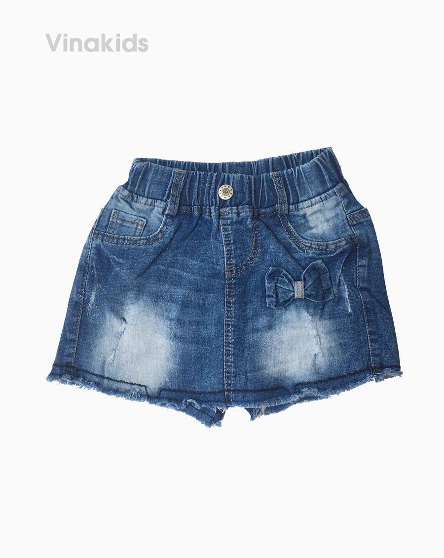Quần váy jeans bé gái đính nơ màu đậm (1-7 tuổi)