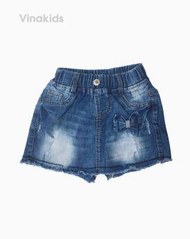 Quần váy jeans bé gái đính nơ màu đậm (7-10 tuổi)