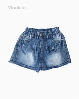 Quần váy jeans bé gái đính nơ màu nhạt (1-7 tuổi)