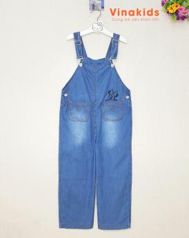 Quần yếm jeans bé gái cổ vuông cân nặng 35kg -55kg