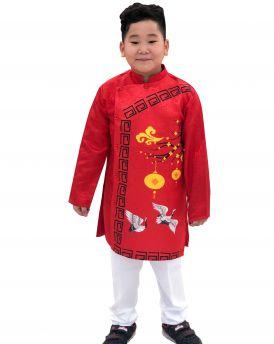 Sét áo dài Gấm bé trai họa tiết đèn lồng kèm quần màu đỏ (2-14 tuổi)