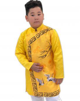 Sét áo dài Gấm bé trai họa tiết đèn lồng kèm quần màu vàng (2-14 tuổi)