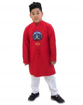 Sét áo dài Gấm bé trai họa tiết thêu đắp phối dây kèm quần màu đỏ (2-14 tuổi)