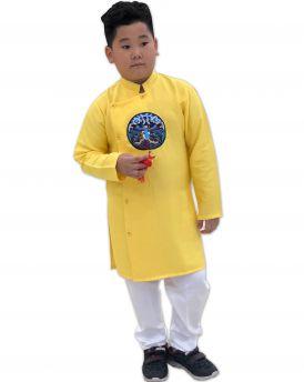 Sét áo dài Gấm bé trai họa tiết thêu đắp phối dây kèm quần màu vàng (2-14 tuổi)