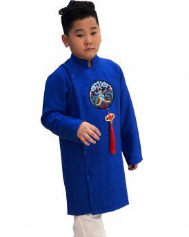 Sét áo dài Gấm bé trai họa tiết thêu đắp phối dây kèm quần màu xanh (2-14 tuổi)