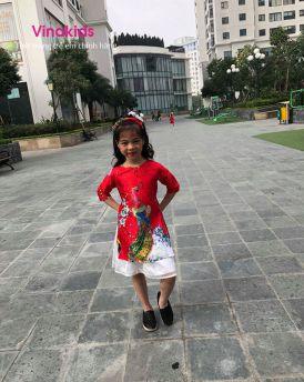 Sét áo dài cách tân bé gái hình công kèm tuban màu đỏ (1-9 tuổi)