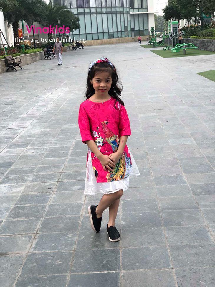 Sét áo dài cách tân bé gái hình công kèm tuban màu hồng sen (1-9 tuổi)