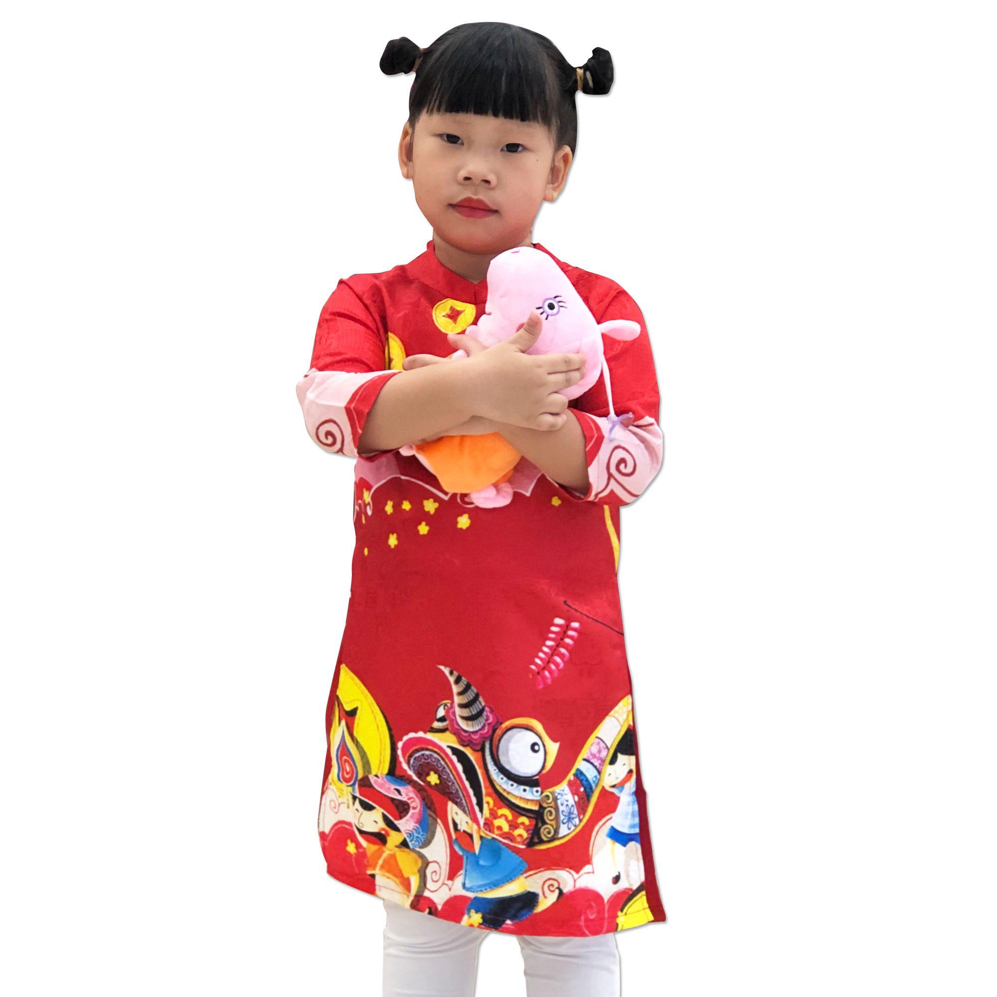 Sét áo dài cách tân bé gái họa tiết tết màu đỏ kèm quần (2-14 tuổi)