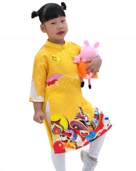 Sét áo dài cách tân bé gái họa tiết tết màu vàng kèm quần (2-14 tuổi)
