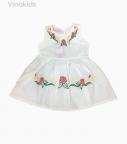 Váy bé gái Boil thêu màu trắng