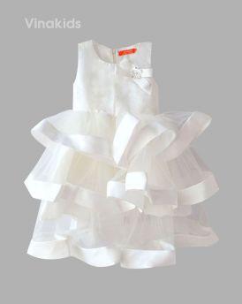 Váy bé gái ba tầng cao cấp màu trắng (3-10 Tuổi)