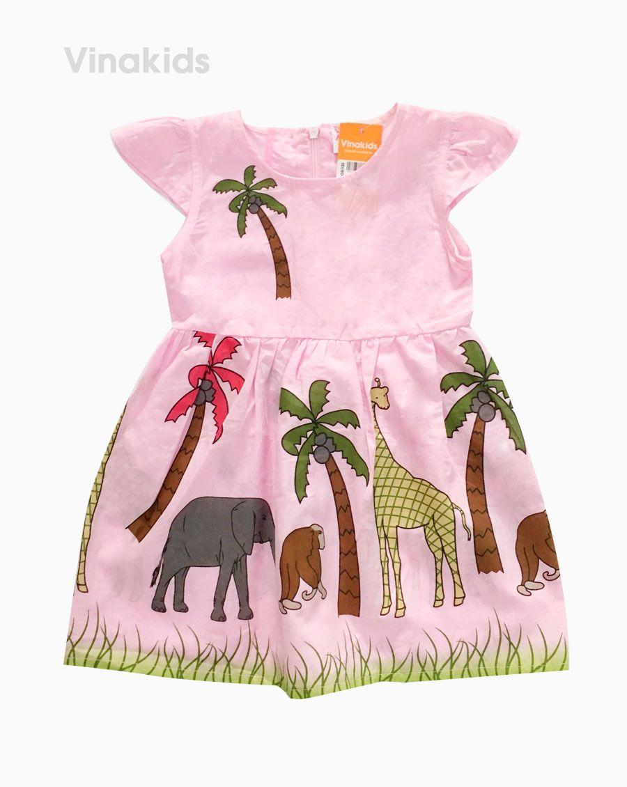 Váy bé gái cánh tiên cây dừa màu hồng (1-6 Tuổi)