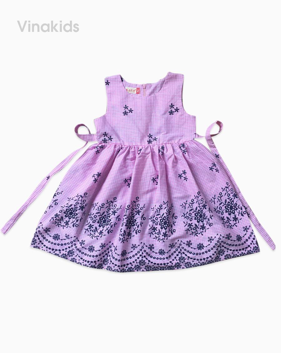 Váy bé gái chân hoa boil màu hồng