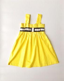 Váy bé gái hai dây màu vàng